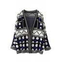Cocoon Neck Long Sleeve Geometric Print Cardigan