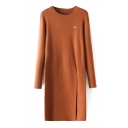 Round Neck Long Sleeve Plain Knit Dress