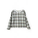 Round Neck Long Sleeve Pullover Plaid Sweatshirt