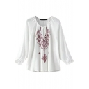 Scoop Neck Long Sleeve White Embroidery Blouse