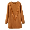 Round Neck Long Sleeve Plain Tassel Detail Knit Dress