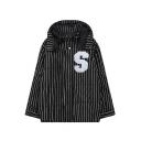 Zipper Long Sleeve Hooded Stripes Letter Embroidery Coat