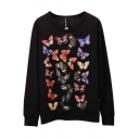 Butterfly Print Back Long Sleeve Sweatshirt