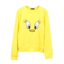 Yellow Long Sleeve Round Neck Print Sweatshirt
