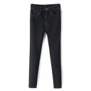 Zipper Fly High Waist Skinny Plain Jeans
