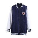 Stripe Trims Long Sleeve Color Block Jacket