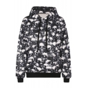 Hooded Skull Print Long Sleeve Sweatshirt