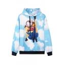 Blue Cartoon Print Long Sleeve Hooded Sweatshirt