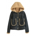Single Breasted Long Sleeve Hooded Denim Coat