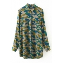 Camouflage Print Lapel Double Pockets Long Shirt