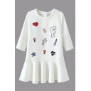 Round Neck 3/4 Length Sleeve Cartoon Patchwork Puplum Hem Dress