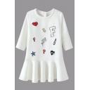 Round Neck 3/4 Length Sleeve Cartoon Patchwork Puplum Hem Dress