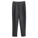 Plain Loose High Waist Zipper Fly Suit Pants