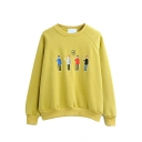 Cartoon Embroidery Plain Fleece Loose Round Neck Sweatshirt
