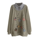 Lapel Fish Patchwork Velvet Plus False Two-Piece Sweatshirt