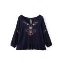 V-Neck 3/4 Length Sleeve Floral Embroidery Blouse