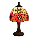 Mini 6 Inch Tiffany Table Lamp with Sun Flower Décor Glass