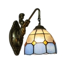 Clear and Blue Pattern 6 Inch Mini Mermaid Sconce in Tiffany Stained Glass Style