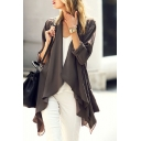 Long Sleeve Waterfall Neck Plain Asymmetrical Duster