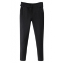 Black Zipper Fly Cigarette Plain Mid Waist Pants
