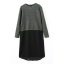 Round Neck Chiffon Patchwork Long Sleeve Dress