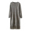 Plain Long Sleeve Round Neck Tassel Hem Knit Dress