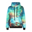 Green Galaxy Print Long Sleeve Sweatshirt