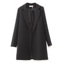 Black Notched Lapel Long Sleeve Open Front Blazer
