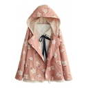 Double Breasted Long Sleeve Hooded Floral Print Coat
