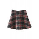 A-Line Mini Plaid Zip Side Knit Skirt
