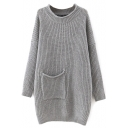 Round Neck Pocket Long Batwing Sleeve Plain Long Sweater