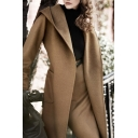 Hooded Open Front Belt Waist Long Sleeve Woolen Coat