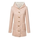 Lamb Wool Horn Button Double Pockets Plain Long Coat