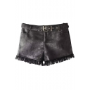 Zipper Fly Suede Tassel Hem Plain Shorts with Belt