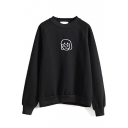 Cartoon Embroidery Round Neck Plain Sweatshirt