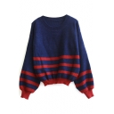 Stripe Trims Color Block Long Sleeve Sweater