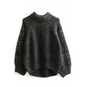 Round Neck Long Raglan Sleeve Plain Loose Sweater