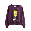 Cartoon & Letter Print Long Sleeve Round Neck Sweatshirt