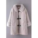 Fur Lapel PU Belt Button Lamb Wool 3/4 Length Sleeve Coat