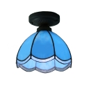 Downlight Bowl Blue Stained Glass Tiffany One-light Semi Flush Mount Ceiling Light