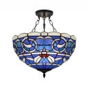 Blue Bowl Shade 3 Lights Tiffany Pendant with White Leaf Motif