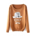 Funny Look Print Scoop Neck Long Sleeve Sweater