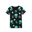 Black Cartoon Alien Print Short Sleeve T-Shirt