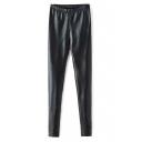Black Elastic Waist Skinny PU Pants
