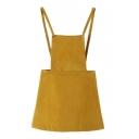 Zipper Back Yellow Mini Plain Mini Overall Dress