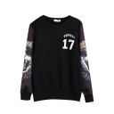 Round Neck Tiger Letter Print Long Sleeve Sweatshirt
