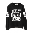 Hooded Long Sleeve Letter Print Black Sweatshirt