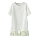Round Neck Short Sleeve Plain Tassel Hem Dress