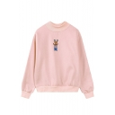 High Neck Embroidery Long Sleeve Plain Sweatshirt