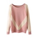 Scoop Neck Long Sleeve Color Block Sweater